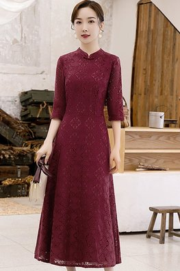 Black / Wine Red Mandarin Collar Geometric Lace Cheongsam