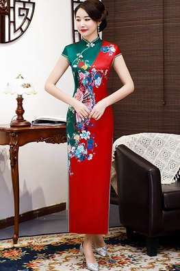 Assorted Colours Mandarin Collar Red Trimmings Fan Floral Cheongsam