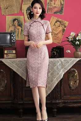 Pink / Grey Mandarin Collar Green Trimmings Lace Tea Length Cheongsam