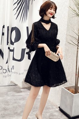Assorted Colours V-Neck Open Illusion Sleeves Feather Dress