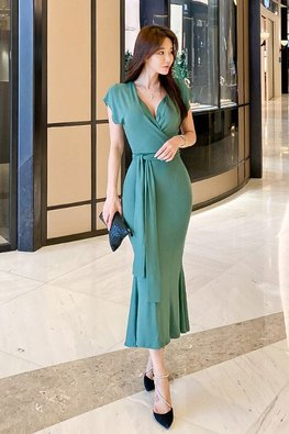 Assorted Colours V-Wrap Wide Sleeves Mermaid Dress