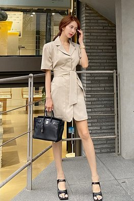 Khaki / Dark Blue V-Lapel Front Pockets Mini Dress