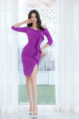Purple Off-Shoulder 3/4 Sleeves Front Ruffle Sheath Dress