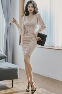 Khaki V-Wrap Long Sheer Sleeves Sheath Dress