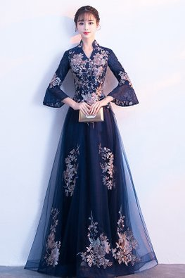 Navy Blue / Wine Red Trumpet Lace Sleeves Embroidery Gown