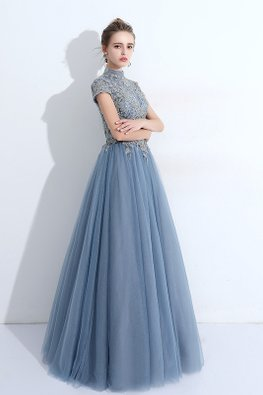 Blue Illusion High Neck Short Sleeves Mesh Gown