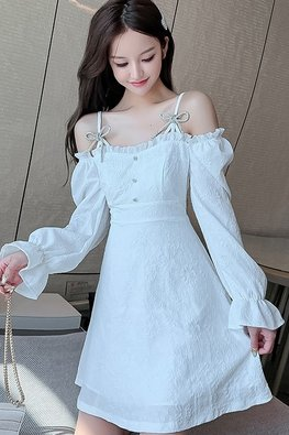 White / Black Cold-Shoulder Long Sleeves A-Line Dress