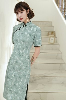 Mint Blue / Yellow Mandarin Collar Lace Trimmings Cheongsam