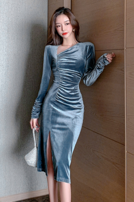 Grey Blue Side V-Neckline Long Sleeves Velvet Dress