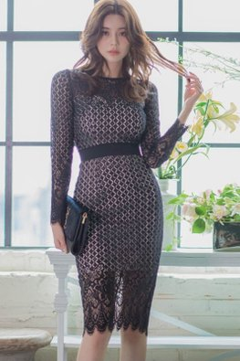 Black Round Neck Long Sleeves Patterned Lace Sheath Dress