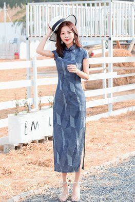 Blue Mandarin Collar Cap Sleeves Geometric Prints Cheongsam