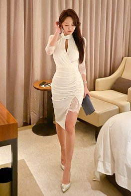 White Halter Neck Keyhole Illusion Sleeves Front Slit Dress