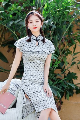 Green / Black Mandarin Collar Keyhole Overlay Sleeves Feather Prints Cheongsam