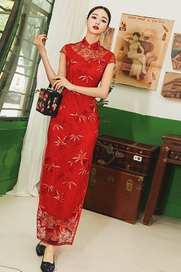 Red Mandarin Collar Illusion Neckline Cap Sleeves Lace Cheongsam