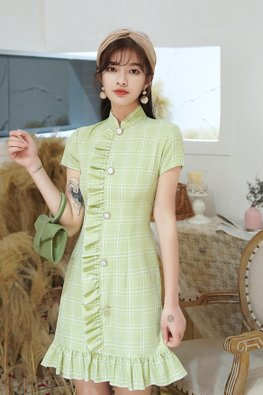 Pink / Green Mandarin Collar Ruffle-Down Pearl Buttons Cheongsam