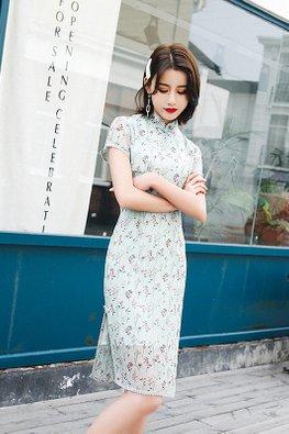 Cream / Green Mandarin Collar Short Sleeves Floral Cheongsam