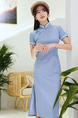 Cream / Blue Lace Trimmings Short Sleeves Side Slit Cheongsam