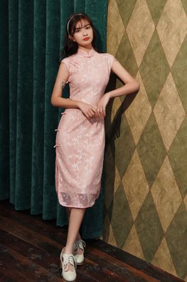Pink Mandarin Collar Cap Sleeves Pearl Knots Lace Cheongsam