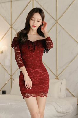 Red Illusion Neckline Off-Shoulder Lace Mini Dress