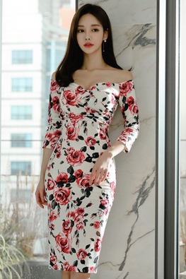 Floral Sweetheart Off-Shoulder 3/4 Sleeves Dress
