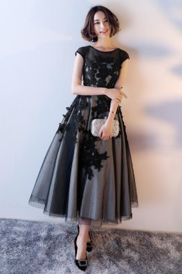 Black Round Neck Illusion Cap Sleeves Embroidery Mesh Gown