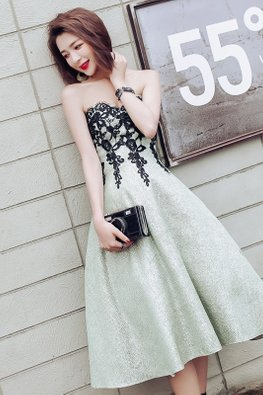 Light Green Sweetheart Strapless Lace Embroidery A-Line Dress