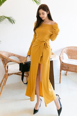 Yellow Off-Shoulder Long Sleeves Front Slit Tie-Front Dress