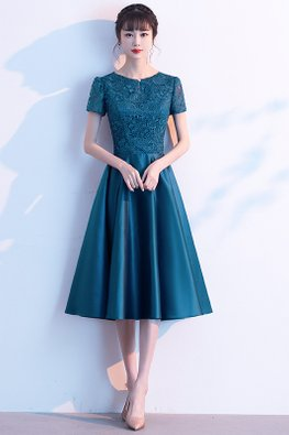 Peacock Blue Keyhole Round Neck Short Sleeves Dress