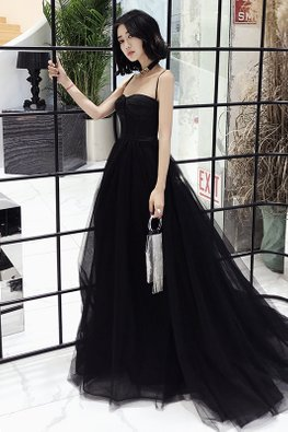 Black Bustier Sweetheart Strap Long Mesh Gown