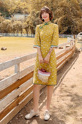 Ginger Yellow Green Trimmings Loose Sleeves Floral Cheongsam