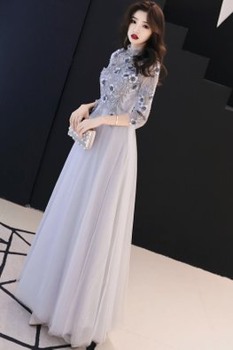 Smokey Grey Illusion High Neck 3D Floral Embroidery Gown
