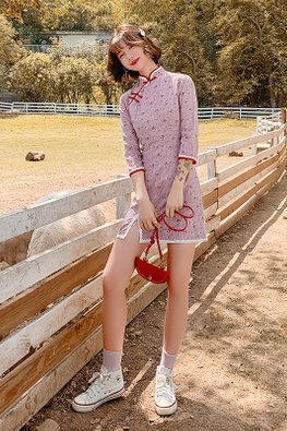 Purplish Pink Red Lace Trimmings Little Floral Mini Cheongsam