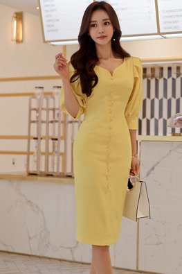 Yellow V-Neck Elbow Sleeves Button Down Dress