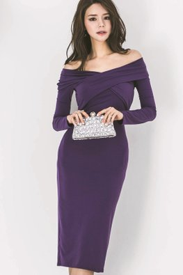Purple Off-Shoulder Overlay Wrap Front Sheath Dress