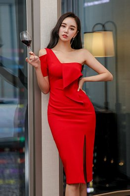 Red One-Shoulder Cut-Out Ruffle Front Sheath Dress