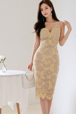 Yellow Sweetheart Floral Lace Patterned Sheath Dress