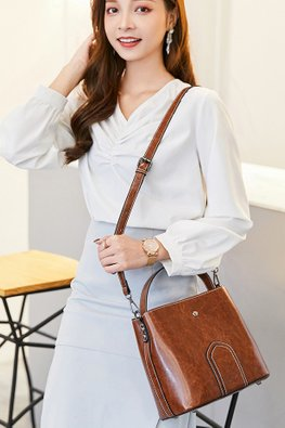 Brown Faux Leather Structured Bag