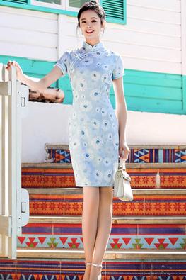 Blue Mandarin Collar Double Trimmings Daisies Cheongsam