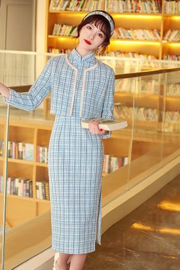 2-Pc Light Pink / Blue Cap Sleeves Tweed Cheongsam & Outerwear