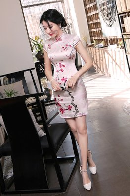 Pink Mandarin Collar Red Trimmings Floral Painting Cheongsam