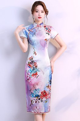 2-Tone Purple Double Pink Red Trimmings Watercolour Dress