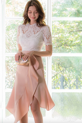 2-Pc White Lace Top + Peach Pink Ruffle Skirt