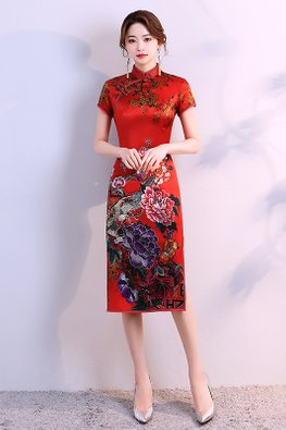 Red Mandarin Collar Green Trimmings Elaborated Floral Cheongsam