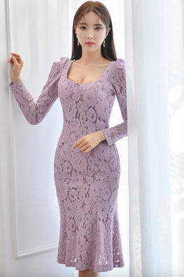 Light Purple Squarish Neckline Long Sleeves Floral Lace Mermaid Dress