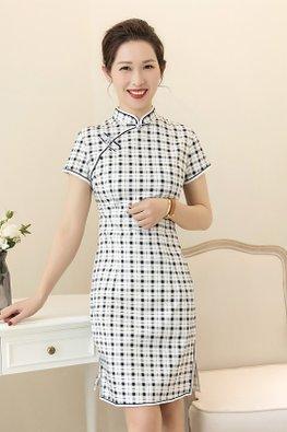 Black White Mandarin Collar Short Sleeves Checkered Cheongsam