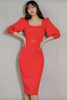 Bright Red Square Neckline 3/4 Sleeves Back Slit Dress