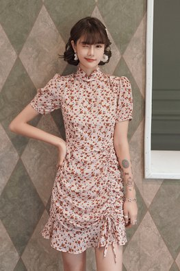 Pink / Red Mandarin Collar Mini Floral Mermaid Cheongsam