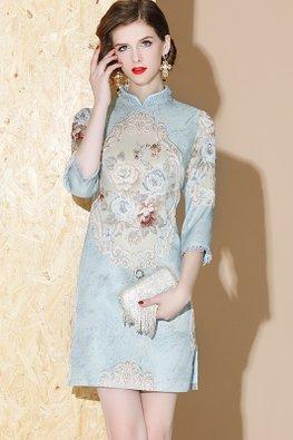 Blue Mandarin Collar Lace Details 3/4 Sleeves Floral Cheongsam