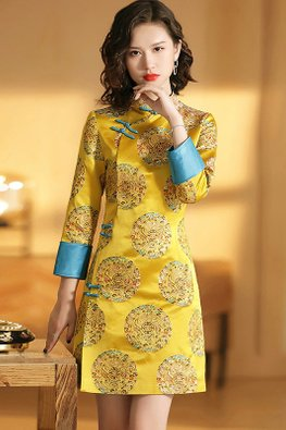 Red / Yellow Mandarin Collar Blue Knots Oriental Design Cheongsam