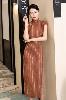 Orange Brown Mandarin Collar Double Trimmings Vertical Lines Cheongsam